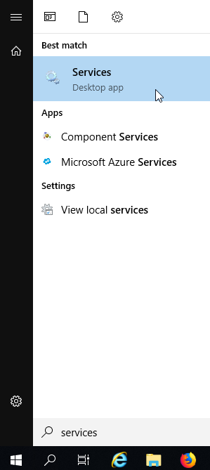 Windows Start menu with Services selected