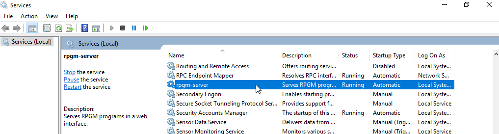 Services window with rpgm-server selected