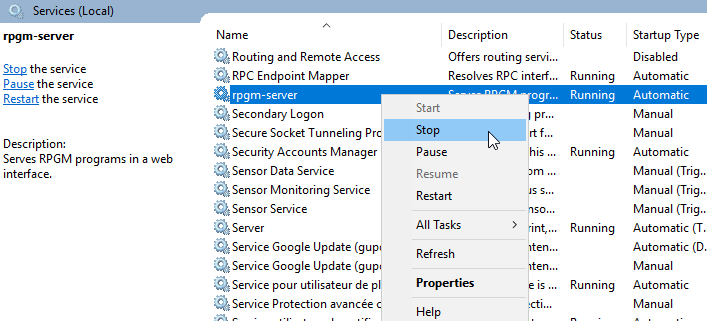 Service context menu with stop option